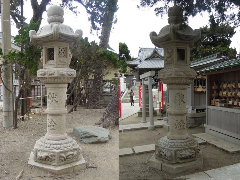 葉山 森戸神社 参道の石燈籠 波兎