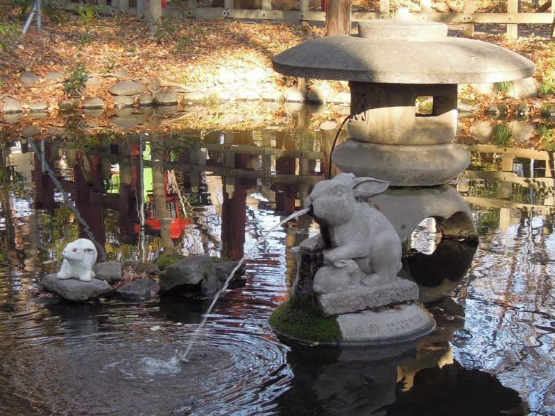 調神社 2014年 初詣 境内池 噴水の兎像