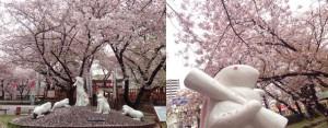 宿院頓宮 白夜の兎像 桜