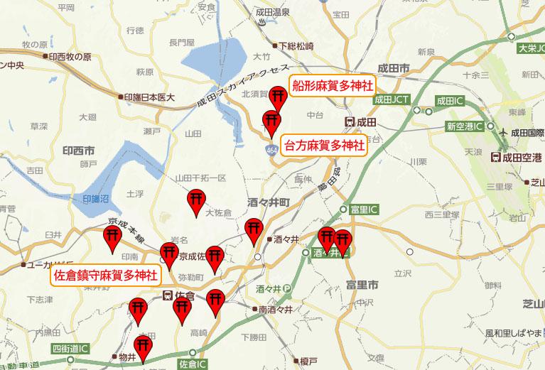 麻賀多神社 分布 地図