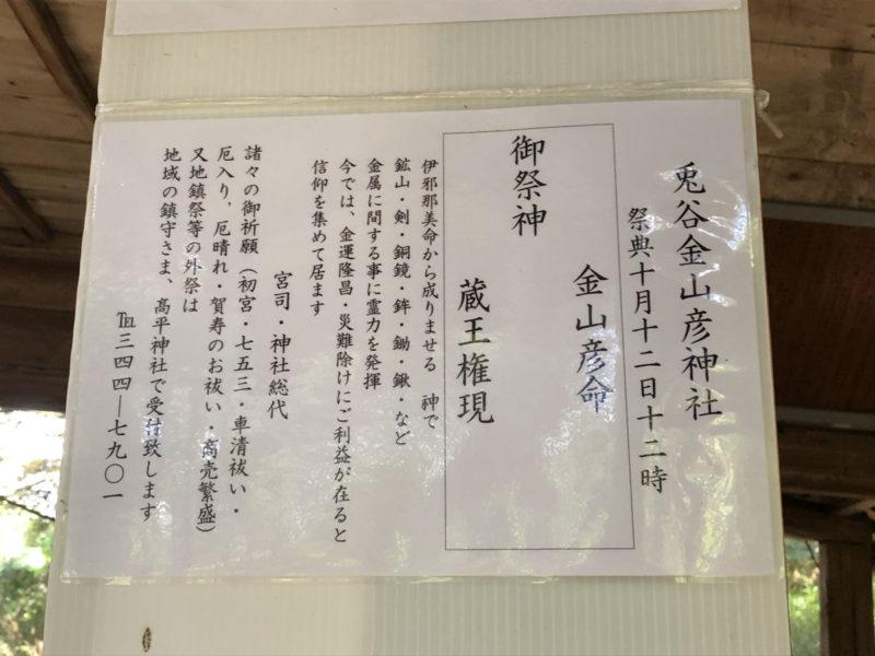 兎谷金山彦神社 案内