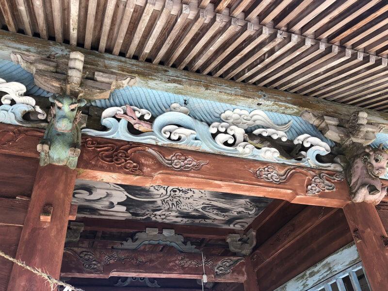 玉名山部田熊野座神社 山門 彫刻